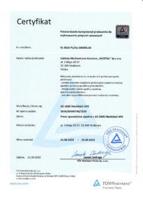 Certyfikat AD 2000 Markblatt HP0