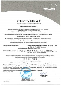 Certyfikat PN EN 1090 EXC23 WOSTAL Pl